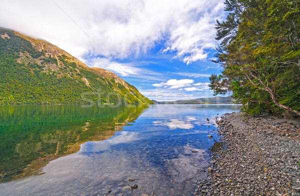 White Clouds and Blue Sky over an Alpine Lake Stock photo © wildnerdpix