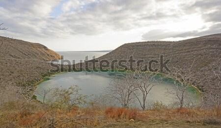 Zdalnego jezioro wulkaniczny wyspa wcześnie wieczór Zdjęcia stock © wildnerdpix