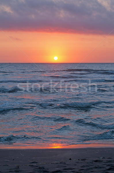 Reds and Blues of Sunset on a Beach Stock photo © wildnerdpix