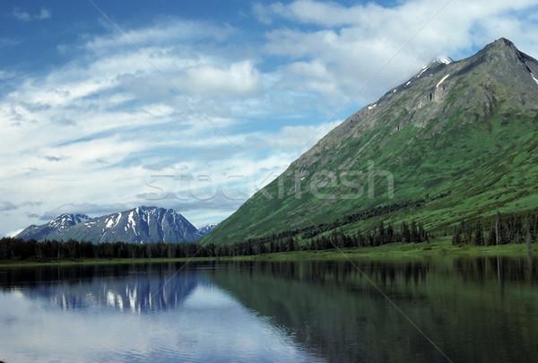 Yarımada dağlar yaz iz göl Alaska Stok fotoğraf © wildnerdpix
