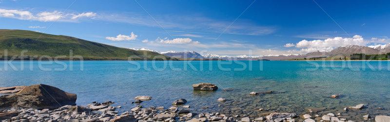 Alpine göl panorama Yeni Zelanda su manzara Stok fotoğraf © wildnerdpix