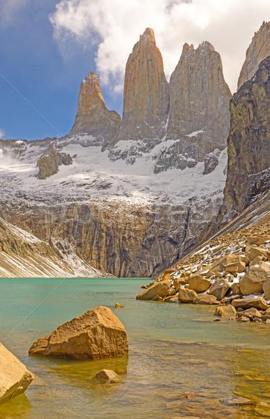 Dramatik üzerinde alpine göl Şili park Stok fotoğraf © wildnerdpix