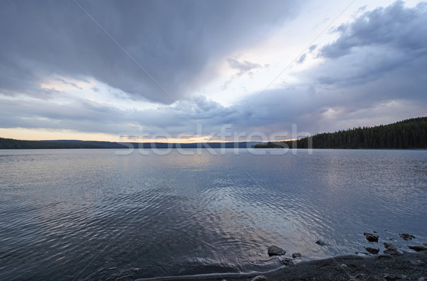 Pioggia nubi tramonto lago parco Wyoming Foto d'archivio © wildnerdpix