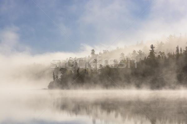 Reggel köd nap tó határ víz Stock fotó © wildnerdpix