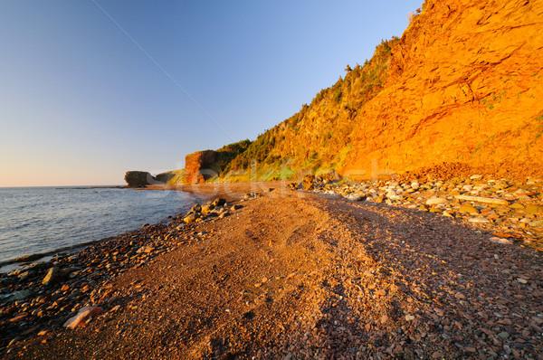 Sóder tengerpart piros naplemente színek zöld Stock fotó © wildnerdpix