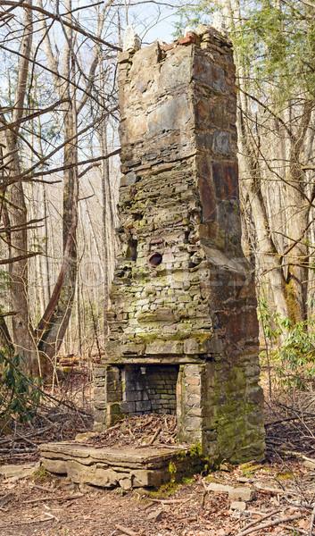 Romok öreg kémény vadon tábor füstös Stock fotó © wildnerdpix