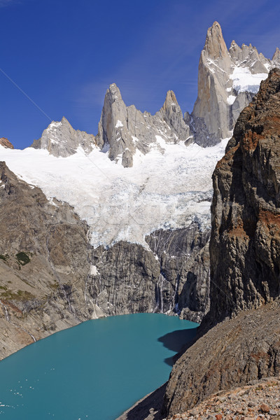 Glacial Lake Below Soaring Peaks Stock photo © wildnerdpix