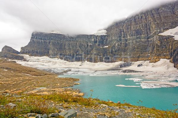 Alpesi gleccser tó felhős nap park Stock fotó © wildnerdpix