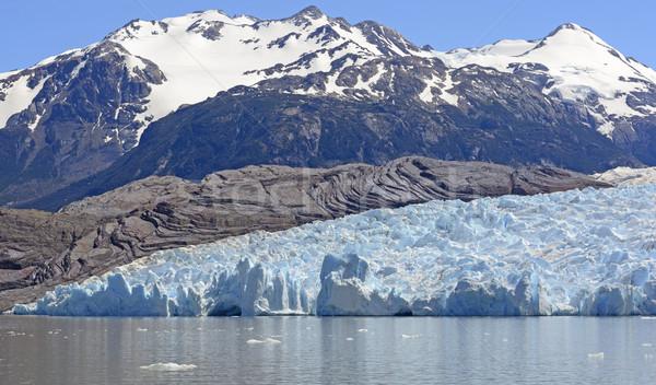 Alpino ghiacciaio giù grigio ghiaccio campo Foto d'archivio © wildnerdpix