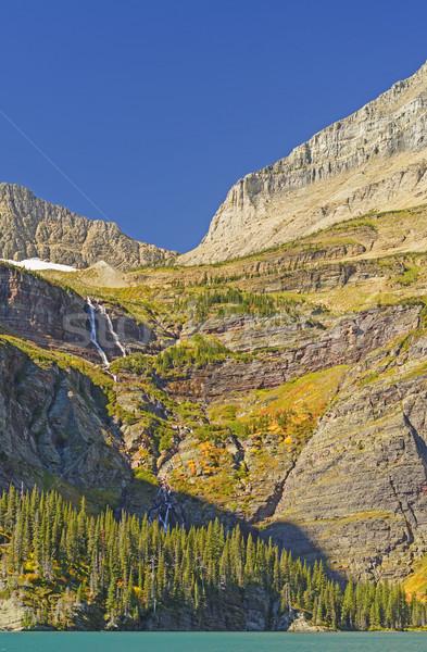 Stromy górskich słoneczny spadek dzień Urwisko Zdjęcia stock © wildnerdpix