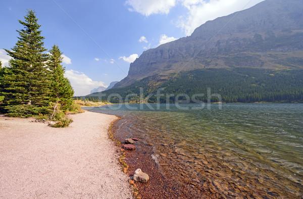 Farbenreich Seeufer Berge See Gletscher Park Stock foto © wildnerdpix