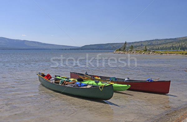 Canoes on a Wilderness lake Stock photo © wildnerdpix