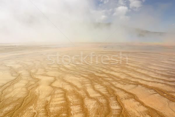 Kleurrijk thermisch bad stoom ochtend mist voorjaar Stockfoto © wildnerdpix