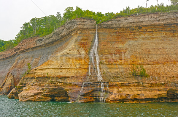 Farbenreich Seeufer Klippe Schleier Ufer Stock foto © wildnerdpix