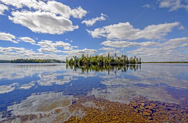 Солнечный Размышления озеро граница воды облака Сток-фото © wildnerdpix