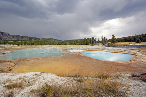 Storm Clouds over a Colorful Thermal Pool Stock photo © wildnerdpix