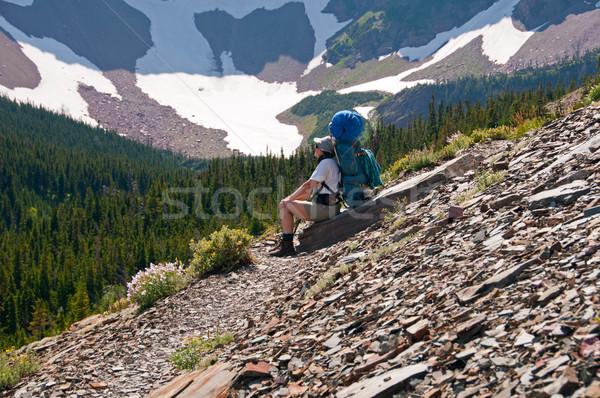 Elvesz törik hegy nyom hátizsákos turista út Stock fotó © wildnerdpix