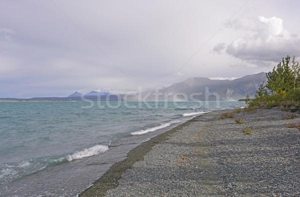 Szél hullámok távoli tó felhők hegyek Stock fotó © wildnerdpix