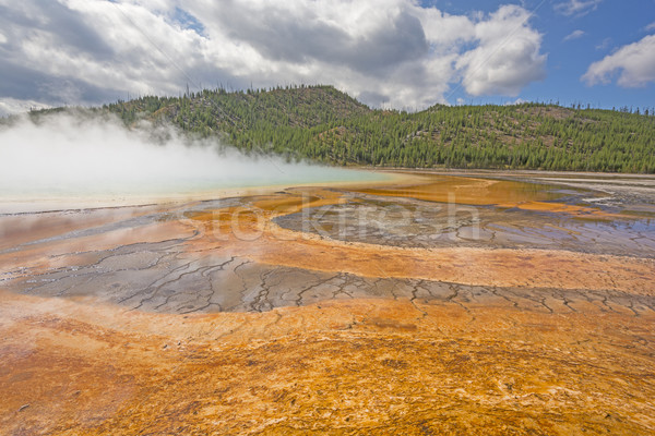 Morning Mist on a Colorful Thermal Pool Stock photo © wildnerdpix