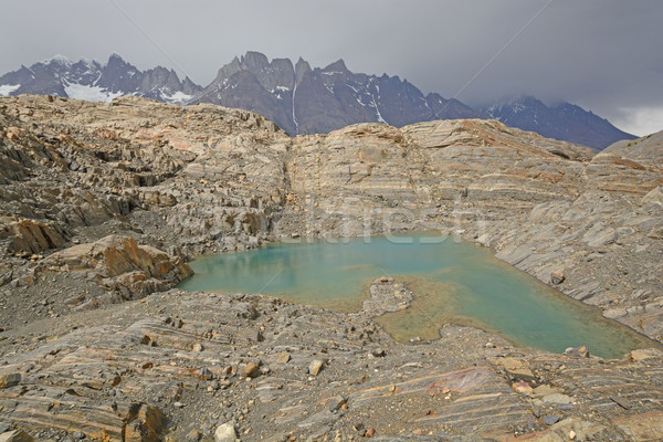 Colorful Lake on a Glacial Nunatak Stock photo © wildnerdpix