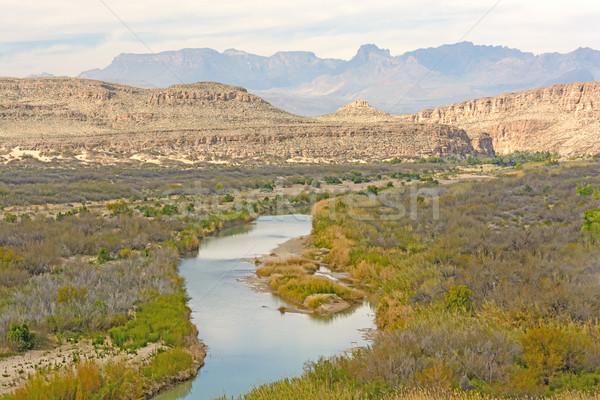 Meandering River Through a Desert Canyon Stock photo © wildnerdpix