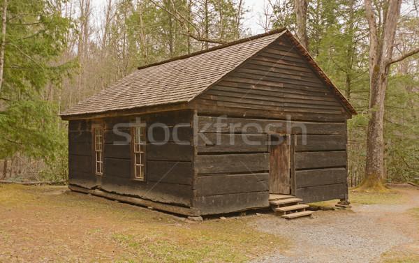 Megőrzött iskola ház vadon Appalache-hegység Stock fotó © wildnerdpix