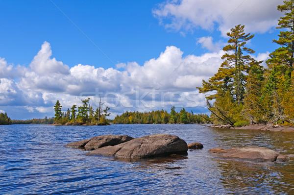 Napos idő észak erdő kicsi tó határ Stock fotó © wildnerdpix