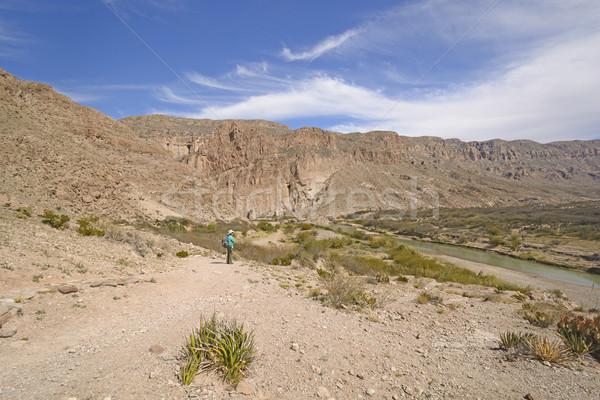 Uzun yürüyüşe çıkan kimse çöl görmek kanyon büyük Stok fotoğraf © wildnerdpix