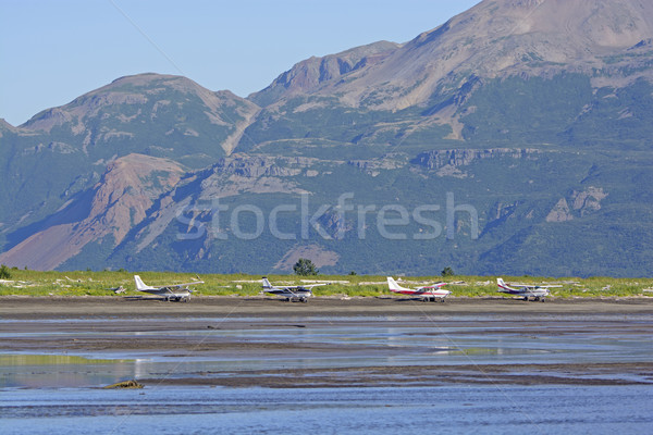Airplanes Lined up on a Remote Shore Stock photo © wildnerdpix
