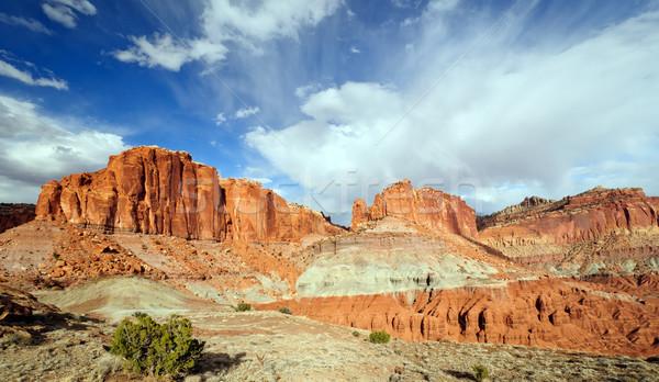 赤 岩 青空 西 春 峡谷 ストックフォト © wildnerdpix