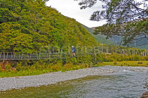 Hiker Crossing a Suspension Bridge over a Wild River Stock photo © wildnerdpix
