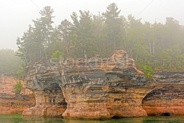 岩 霧 海岸 湖 自然 ストックフォト © wildnerdpix