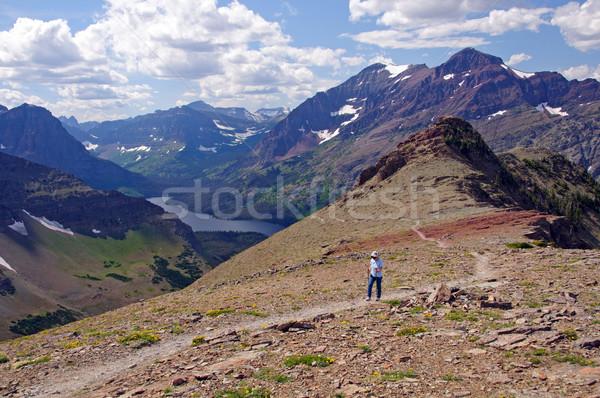 Hiking a mountain trail Stock photo © wildnerdpix