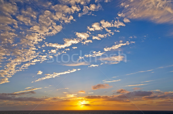 Orange and White Clouds in a Sunset over the Ocean Stock photo © wildnerdpix