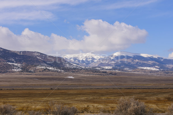 Spring Snow in Mountains from the Surrounding Valley Stock photo © wildnerdpix