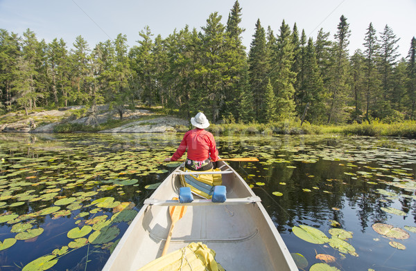 Canoer Relaxing in the Lily Pads Stock photo © wildnerdpix