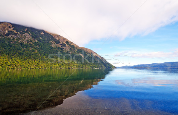 Morning clouds and Reflections on a Mountain Lake Stock photo © wildnerdpix