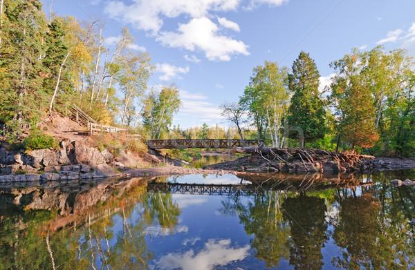 橋 静か ストリーム 秋 川 ミネソタ州 ストックフォト © wildnerdpix