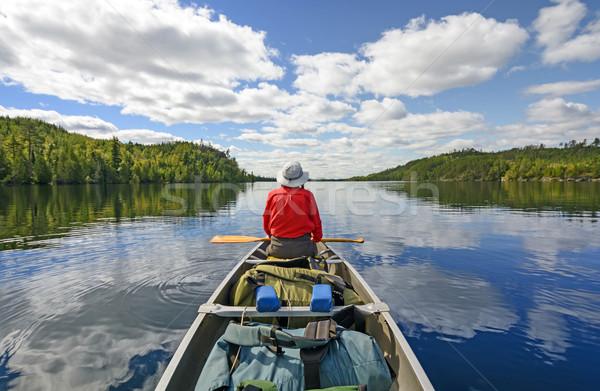 Lac frontière ciel nuages bleu Photo stock © wildnerdpix
