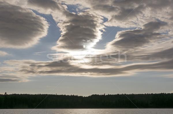 劇的な 雲 太陽 湖 オンタリオ ストックフォト © wildnerdpix