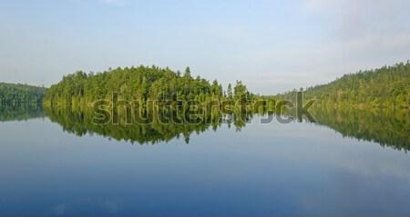 Sabah yansımalar kuzey orman zümrüt göl Stok fotoğraf © wildnerdpix
