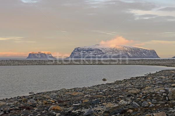 Dernier soleil arctique île océan Photo stock © wildnerdpix