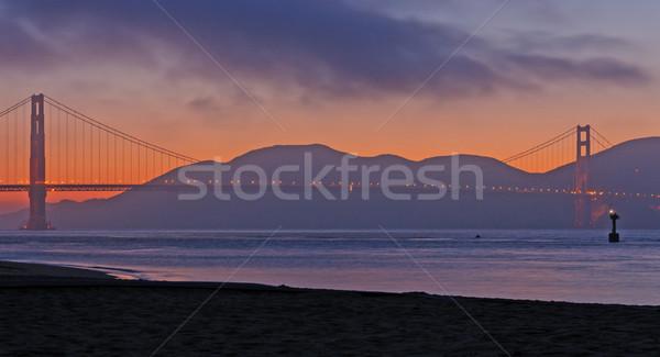 橋 赤 黄昏 ゴールデンゲートブリッジ 遅い ストックフォト © wildnerdpix