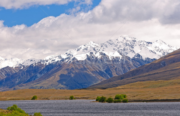Snow Capped Mountains above a Remote Lake Stock photo © wildnerdpix