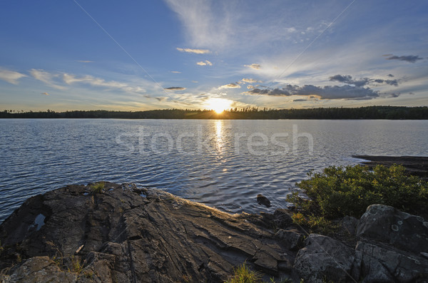 Sun Setting on a Wilderness Lake Stock photo © wildnerdpix