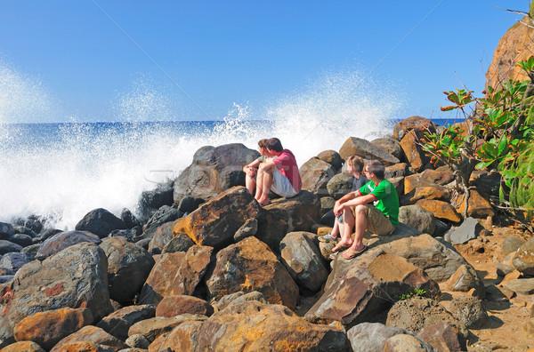 Néz hullámok csattanás emberek észak part Stock fotó © wildnerdpix