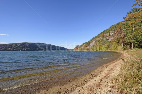 Herbstfarben ruhig Seeufer See Park Natur Stock foto © wildnerdpix