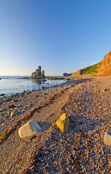 óceán kövek sóder tengerpart tengerparti zöld Stock fotó © wildnerdpix