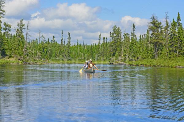 Napos idő vadon kereszt tó határ nő Stock fotó © wildnerdpix