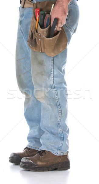 男 着用 ツール ベルト 孤立した 白 ストックフォト © willeecole